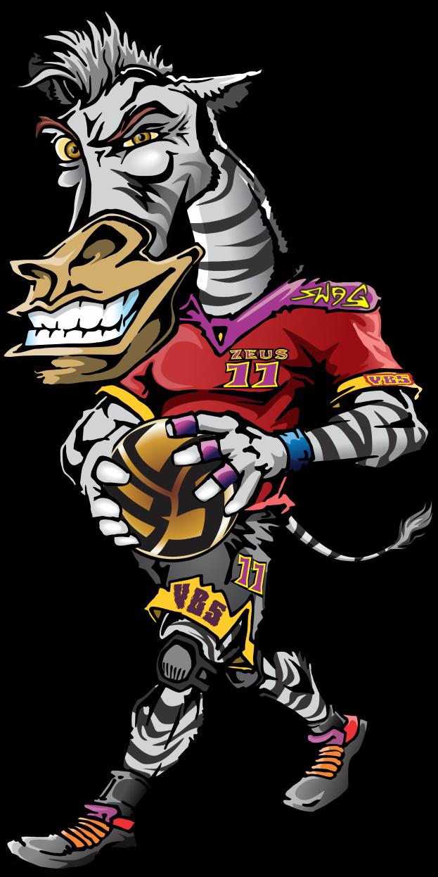 Zeus the Volleybragswag Zebra - Left Side Hitter All VBS Beast First Team