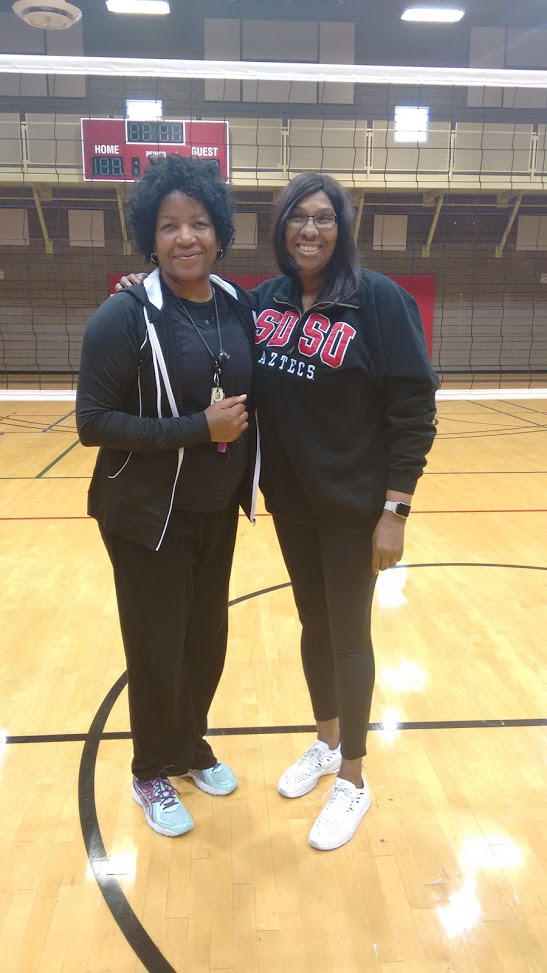 Coach April with former teammate Head coach at San Diego State University Deitre Collins.
