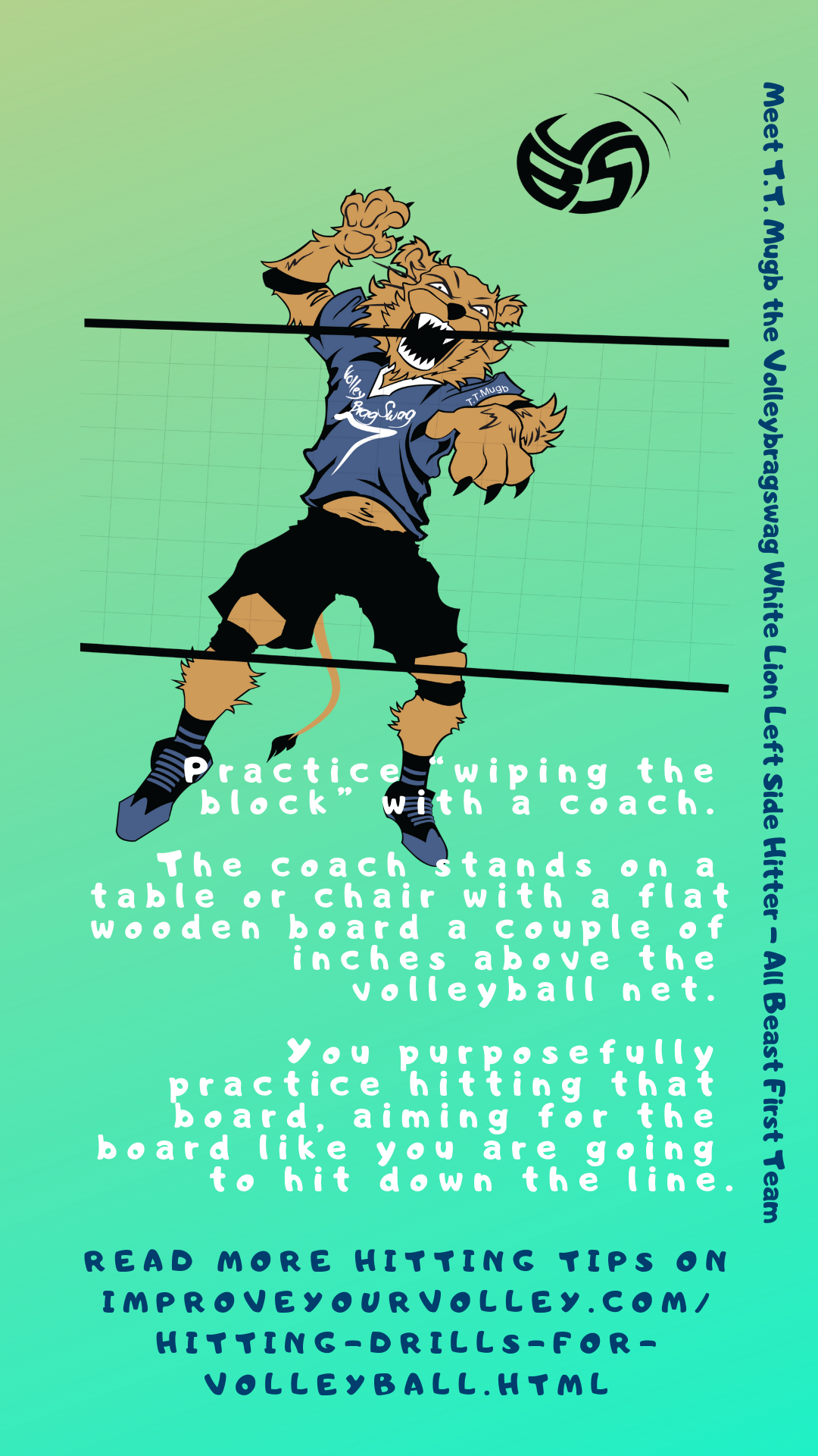 """Volleyball Spike Tips: Practice """"wiping the block"""" with a coach."""