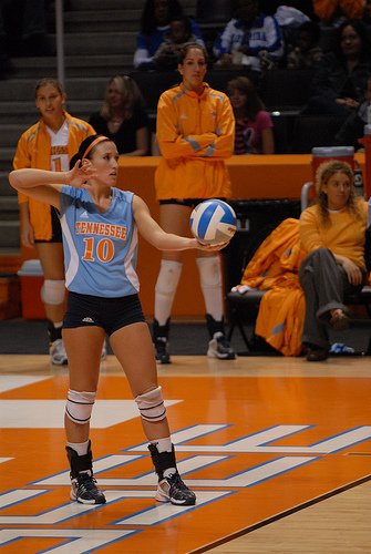 Float Serve Volleyball Tips: Keep your toss so consistent, it goes up the same height and comes down in the same spot every single time.
