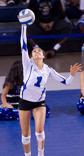 The volleyball serve is how the ball is launched over the net by the player in Zone 1 on the offensive team to start the rally after the ref has blown the whistle.