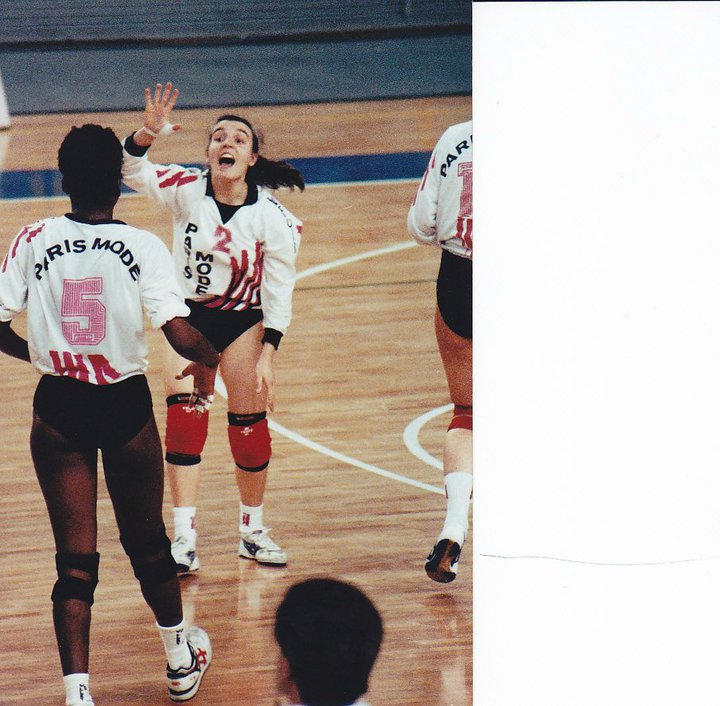 Coach April Chapple, pro Volleyball player for Team Paris Mode in Verona Italy, 1990-1991