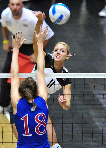 Volleyball Block Tips: Blocker (#18) is blocking cross court while the spiker is hitting the line.