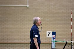 Volleyball officials: The first referee watches the blockers for net touches, calls the double hits, lifts, technical fouls, timeouts and starts each play with a whistle blow to each server.