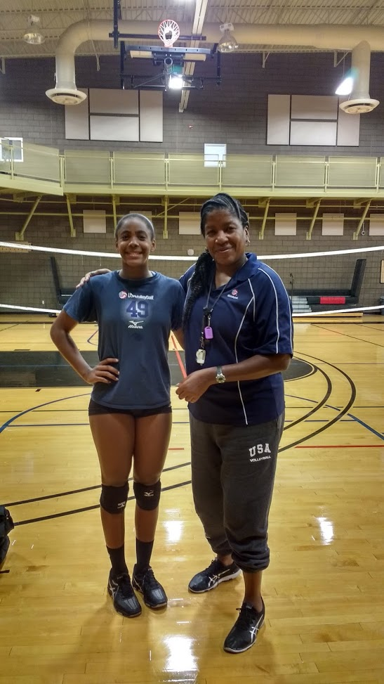 Coach April with three year semi private training client Kami Miner 2018 new member of the USA Girls Youth National Training, the top 20 players in the US, one of four setters named to the team.