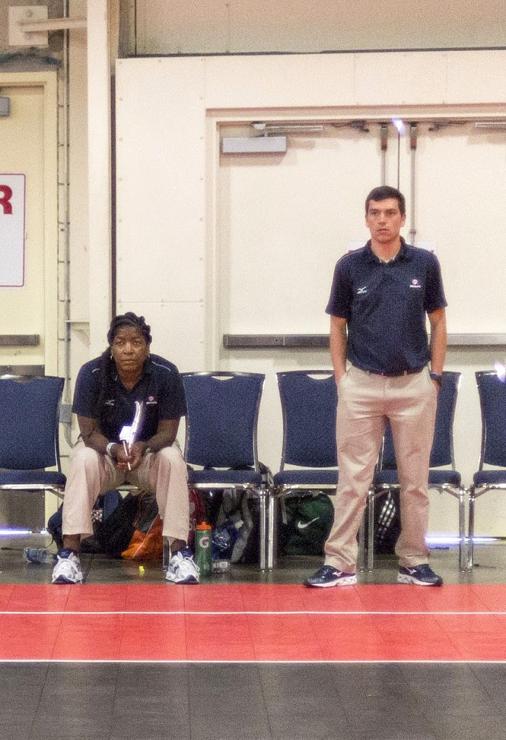 Coach April coaching at the 2016 USA Volleyball High Performance Championships