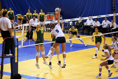 6 positions of volleyball UCLA left side outside hitter attacks from the left side of the net, known as Position or Zone 4 during a rally.