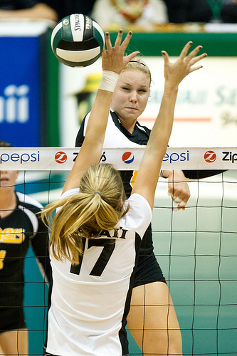 Types of Hits in Volleyball: The Tool. Practice spiking the ball so that you deliberately aim for the outer hand of the blocker who's attempting to block you.