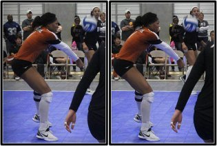When you hips are the same height or higher than the ball its harder to control it and the ball shoots over the net instead of to the setter or you shank it so no one can get to it.