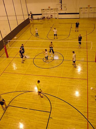 Indoor volleyball court lines