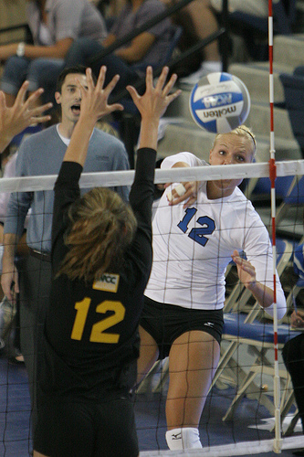 Blocker Volleyball Tactics: The hitter may choose to hit down the line if the double block is