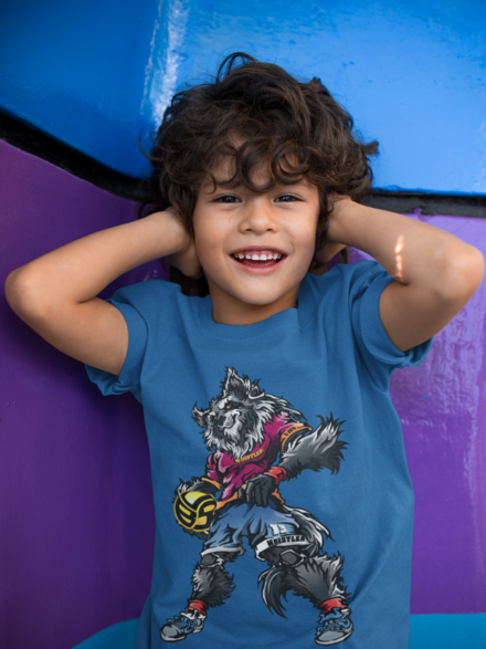 The Whistler Volleybragswag Outside Hitter Wolf animal t shirt is a fave because he's one of the most popular players on the VBS All Beast team.