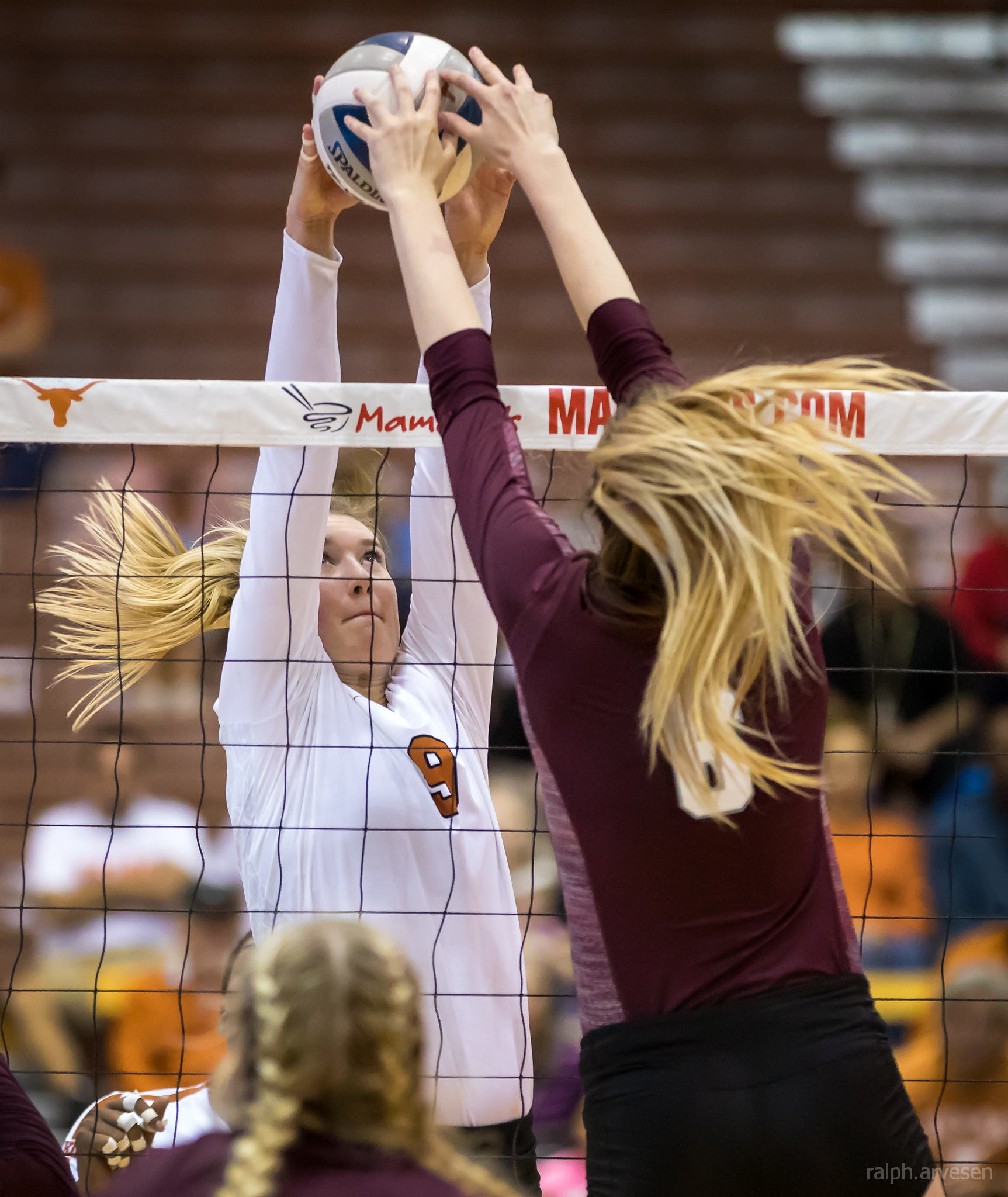 I Describe Volleyball Blocking Terms: If two opposing players go up to contact a ball at the same time over the net, the last player to contact the ball almost always wins (Ralph Aversen)
