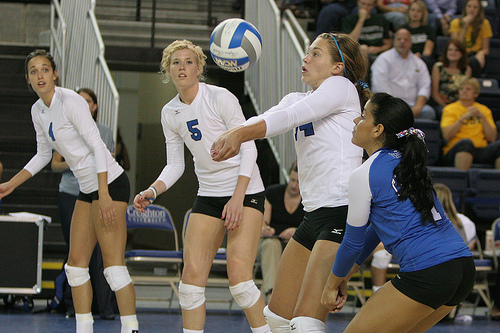 Forearm Pass A Volleyball: One common mistake passers make is to pull their shoulders back behind their knees when they make contact with the ball while passing.