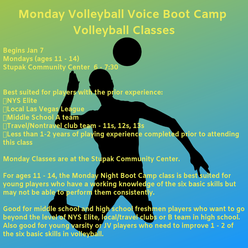 About Monday Volleyball Voice Boot Camp Volleyball Classes  Begins Jan 7 Mondays (ages 11 - 14)  Stupak Community Center  6 - 7:30