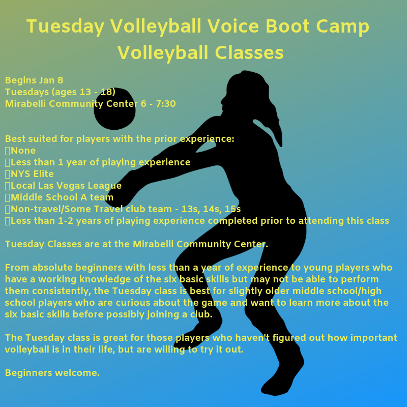 Tuesdays Volleyball Voice Boot Camp Volleyball Class  Begins Jan 8  Tuesdays (ages 13 - 18)  Mirabelli Community Center 6 - 7:30