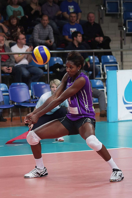 Volleyball passing is the way to contact the ball with your forearms to guide it to your setter or over the net so developing a good forearm pass is crucial. (Jaroslaw Popczyk)