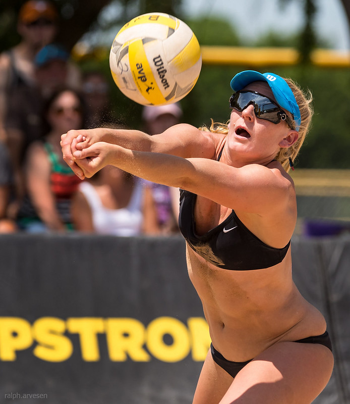 Volleyball Hand Grip: with your forearms you want to create a table top where the only thing the ball has to do is bounce off of your table top and back up to the intended target. (R. Aversen)