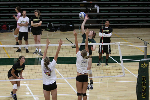 Volleyball Positions: USF Dons Outside Hitter Attacking From The Left Side Photo by Shaun Calhoun