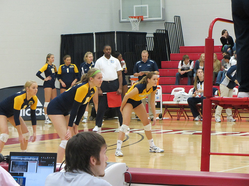 Kent State Passers Staying Low Ready To Bump A Volleyball In Serve Receive Photo by David Wilson