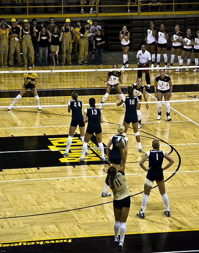 Behind the service line the player tosses the ball to herself with one hand and contacts the ball with the other hand to send it across the net into the court  (Jon Fravel)
