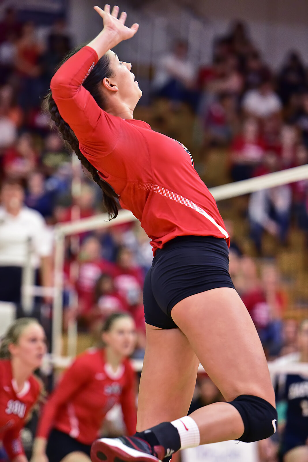 Volleyball Basics: A spike starts with an approach of 3/4 steps to lift you above the top of the net so you contact the ball at its highest height to attack with power. (Al Case)