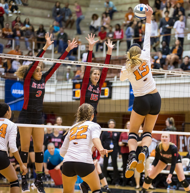 Volleyball Blocking Definition: The Block Is Your Front Row Defense. Oregon State hitter hits against North Carolina State double blockers (Ralph Aversen)