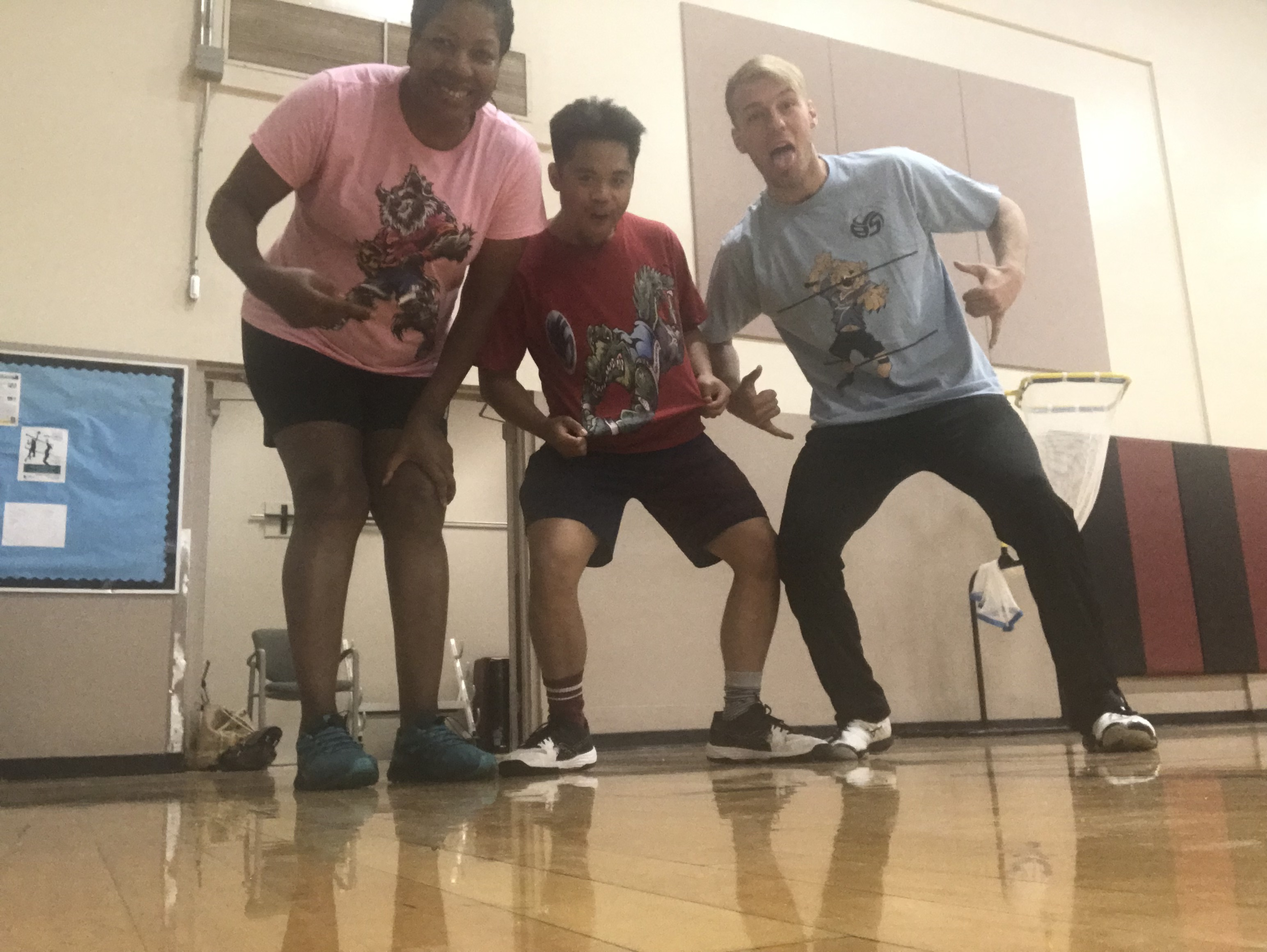 Coach April, Coach Kenny and Coach Brandon wearing our Volleybragswag funny tee shirts for the Improve Your Volleyball Middle School clinic June 10-11, 2019. (photo April Chapple)