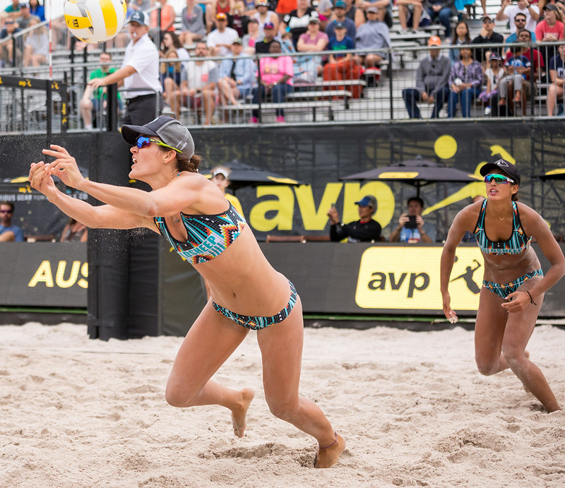 Beach Volleyball Serving: By serving deep corners the player closest to the ball is forced to turn their body and shoulders from the net to 'go chase