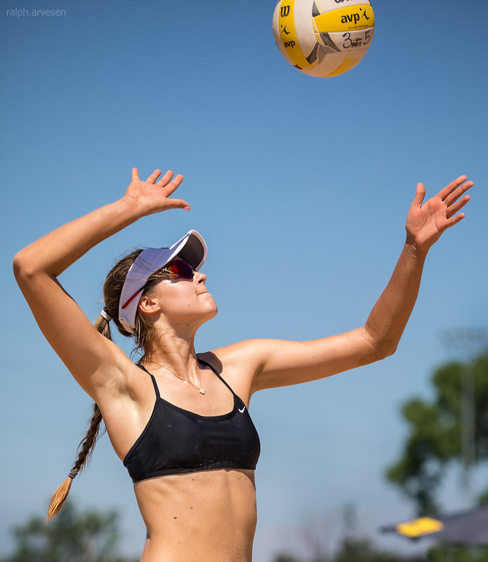 Beach Volleyball Serving: You want to point your overhand volleyball serve to specific zones on the court which forces your opponent into a weaker position on the court. (R. Aversen)