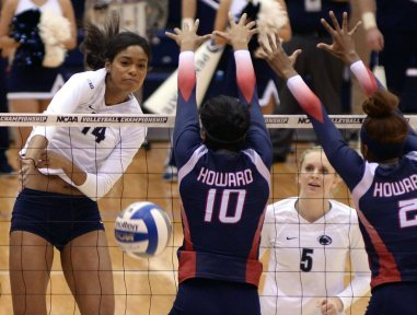 Howard blockers block cross court against Penn State outside hitter Aiyana White during the Nittany Lions' 2015 NCAA Volleyball Tournament match on Dec. 4 at Rec Hall. (Penn State News)