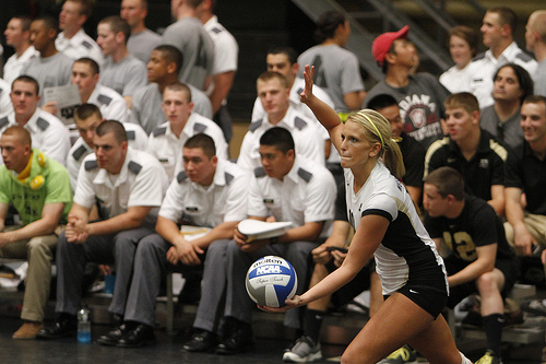 In college and high school indoor volleyball rules a libero can serve when they come in the game. (US West Point Academy)