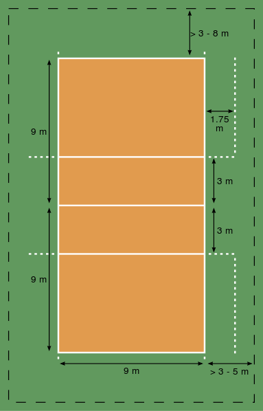 The Volleyball court is shaped like a 30 ft by 60 ft rectangle. In meters its 18 meters by 9 meters.