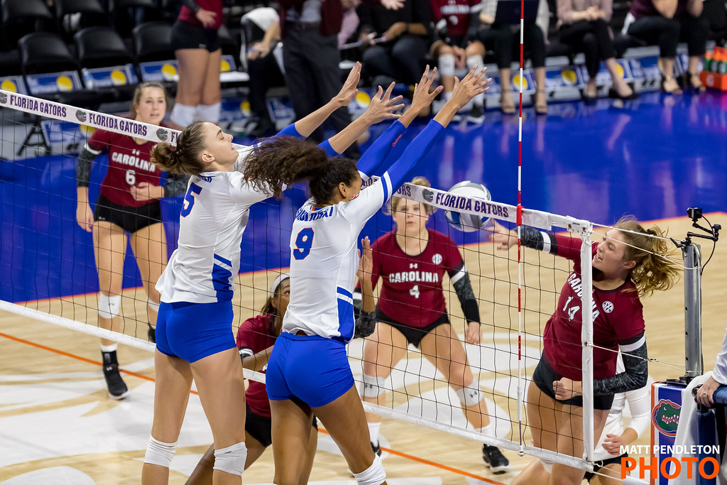 Knowing how to put up an effective volleyball block will keep the opposing team from scoring points from their front row while they are on offense.(Matt Pendleton photo)