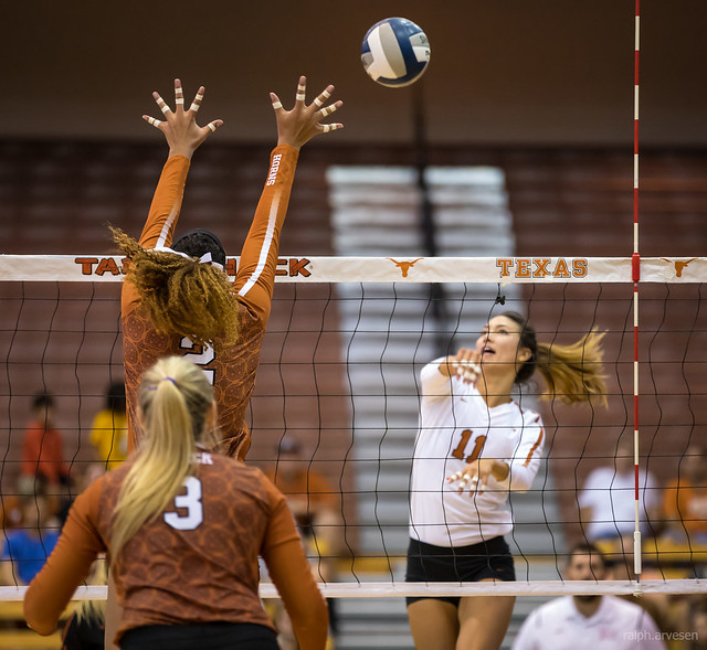 Types of Hits in Volleyball What's The Tool, The Wipe and Hitting Line: Texas hitter Lexi Sun attacks the ball hitting down the line in this photo.  (Ralph Arvesen)