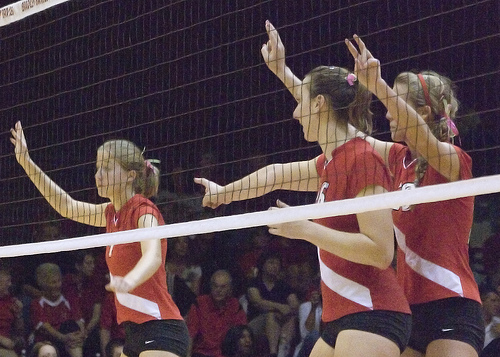 What's the block in volleyball? Keep your hands 6-10 inches in front of you with your  palms facing the net, fingers widespread and keep your wrists straight and rigid not bent or limp. (Bill Shaner)