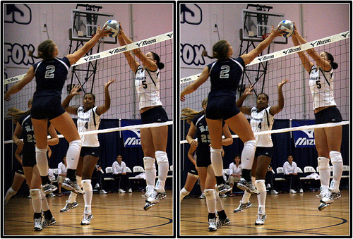 The Volleyball Hit: the second volleyball player to touch the ball has the advantage because she is going up and pushing the ball over while the first player is on the way down...