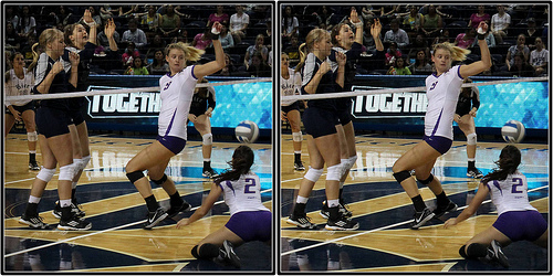 How to Communicate in Volleyball: East Carolina Offblocker Picking Up The Tip In Defense photo by Michael E. Johnston