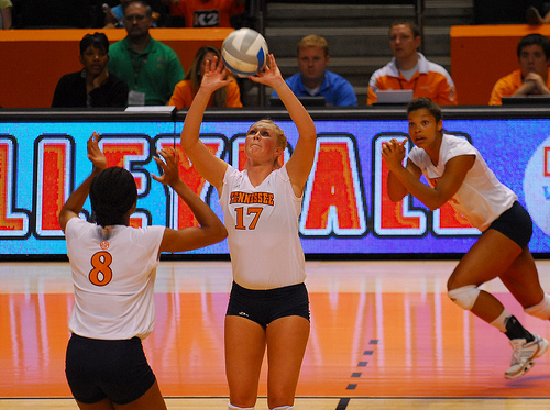 The setter volleyball player is responsible for getting to every second ball in order to run the team's offense by setting the hitter most likely to score a point or sideout.