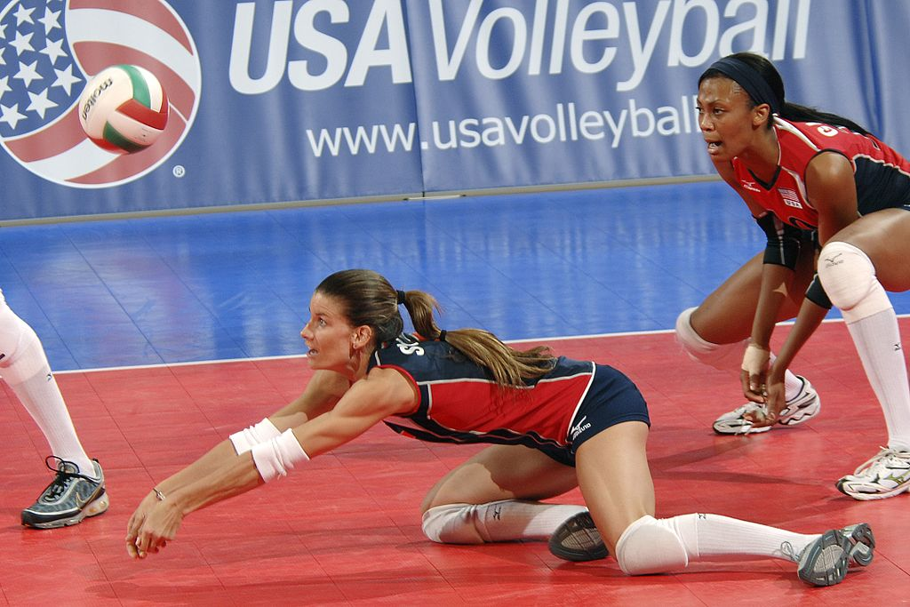 Stacy Sykora, the designated libero for USA Volleyball Team, executes a pass during an exhibition match against top-ranked Brazil at Clune Arena. (Rachel Boettcher, U.S. Air Force)