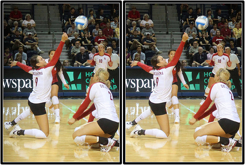 volleyball defense:Oklahoma Sooners Volleyball Players In A Defensive Dance Dig Volleyball Photography by Michael E. Johnston