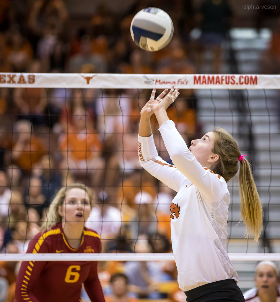 Blocking Volleyball Terms and Definitions: Iowa State hitter watches or reads the Texas Longhorns setter to see where she's going to set the ball. (Ralph Arvesen)