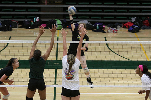 The Rules of Volleyball: Each team can only contact the ball three times and the third contact must go over the net.  (Shaun Calhoun)