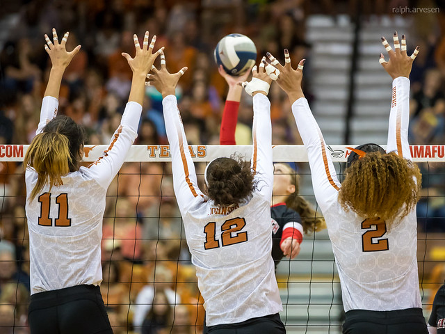 Volleyball Basics on Blocking: A block is the first opportunity for a team on defense to keep the team on offense from hitting into their court. (Ralph Aversen)