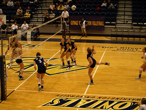 Indoor volleyball court:George Washington Colonials Back Row Attack photo by LT Mayers