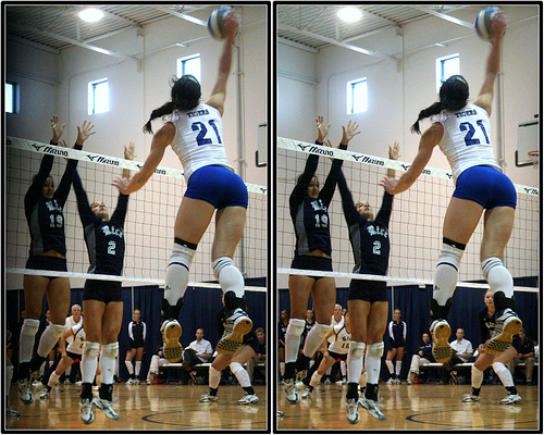 Volleyball Block Rules: If blockers touch a ball that continues into their court their team has three opportunities to contact the ball and get it back over the net.   Photo by Michael E. Johnston