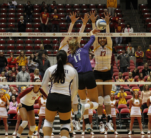Volleyball Term: Iowa State block vs Kansas hitter