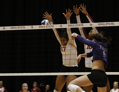 The volleyball block is the first line of defense for the serving team where the front row blockers attempt to stop any attack hits by the hitters on the opposing team. (Matt Van Winkle)