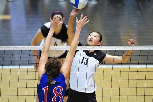 The middle blocker volleyball position is the first line of defense when the opposing team attacks.