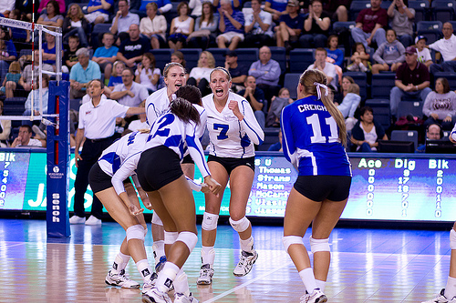 Basic Volleyball Rules: Teams use rally scoring during competition where the team that wins the rally regardless of who serves wins a point  (White and Blue Review)
